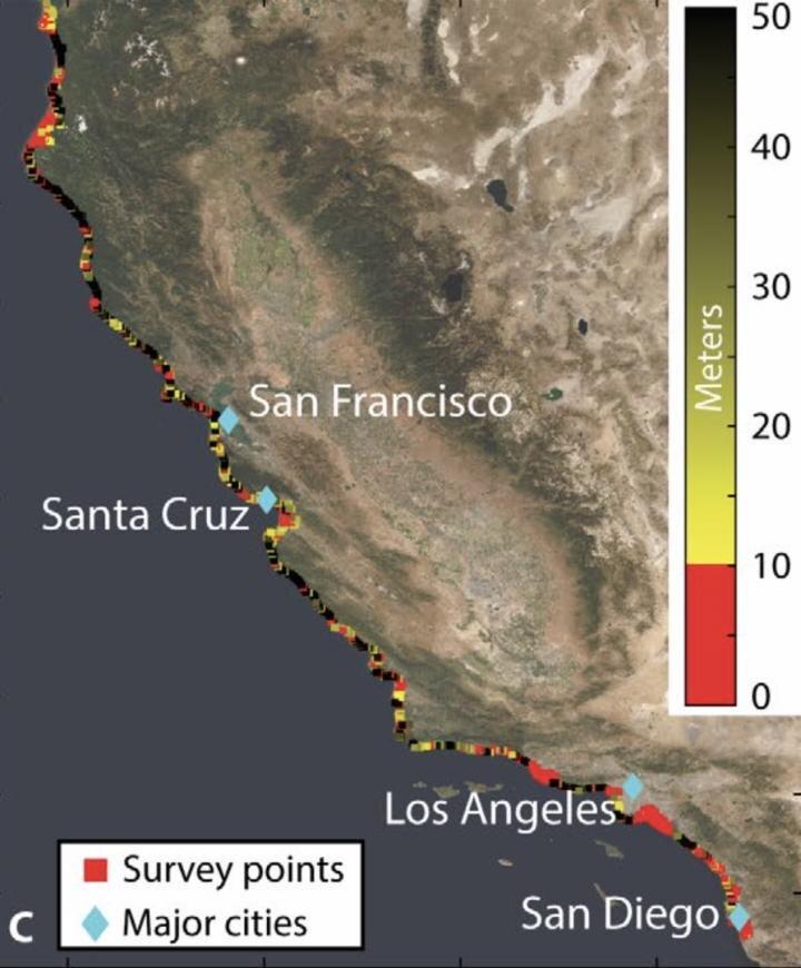 Une enquête satellite montre les hotspots côtiers de Californie en train de couler